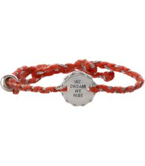 girl rising sterling silver and peach thread bracelet - we dream we rise