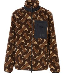 burberry monogram-pattern fleece jacket - brown
