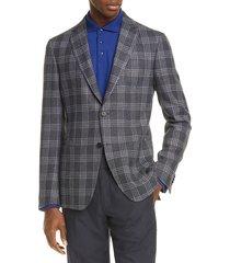 men's z zegna trim fit plaid wool & linen sport coat, size 36 us / 46 eur - grey