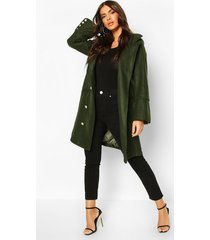 military button double breasted wool look coat, khaki