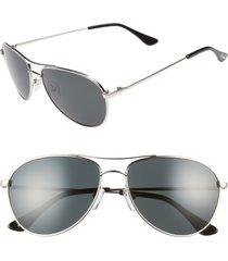 women's brightside orville 58mm mirrored aviator sunglasses - silver/ grey