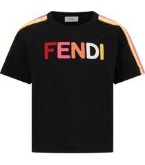 fendi black t-shirt for girl with logo