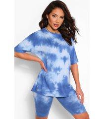 oversized tie dye top & fietsbroekje set, marineblauw