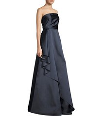 lou strapless side ruffle gown