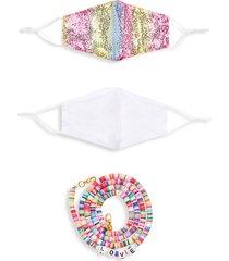 marcus adler women's 3-piece rainbow & solid face mask & chain set