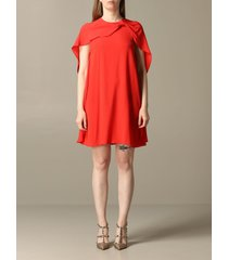 red valentino dress red valentino silk dress with cape sleeves