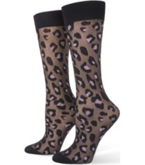 hue women's leopard tulle trouser socks