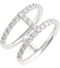 bony levy 'prism' two-row bar diamond ring, size 6.5 in white gold at nordstrom