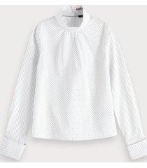 scotch & soda gestreepte blouse met hoge hals