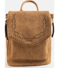 melody perforated flap backpack - cognac