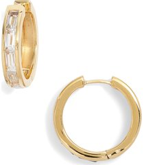 women's ela rae white zircon hoop earrings