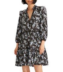 women's veronica beard hawken floral tiered stretch silk dress, size 12 - black