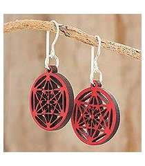 recycled wood dangle earrings, 'stellar magic in red' (guatemala)
