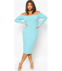 plus jumbo rib of the shoulder midi dress, turquoise