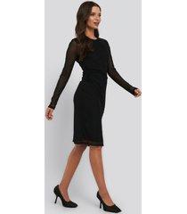 na-kd trend gathered waist mesh dress - black