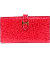 hermes bougainvillea lizard gusset wallet red sz: