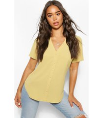 woven button through blouse, olive