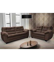 conjunto de sofá macio com fibra premium 3 e 2 lugares tecido suede marrom café