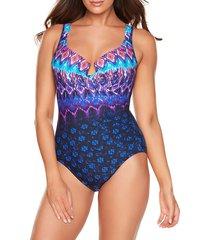 miraclesuit women's bella alba crisscross escape one-piece swimsuit - midnight - size 8