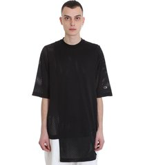 rick owens toga tee t-shirt in black polyester
