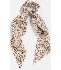 maurices womens neutral leopard print scrunchie scarf beige
