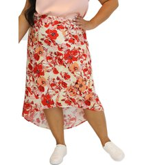 maree pour toi floral high/low skirt, size 24w in rose at nordstrom