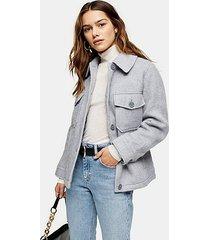 petite grey jacket with wool - grey