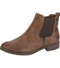 chelsea boots med bred resår mustang kastanjebrun