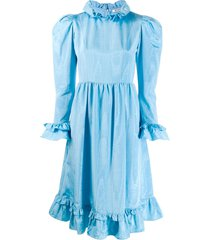 batsheva flared day dress - blue