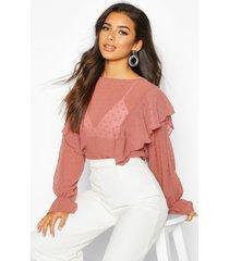dobby mesh ruffle sleeve blouse, mauve