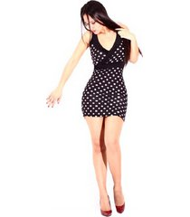 vestido pepas ajustado sarab v034-sp blanco-negro