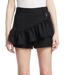3.1 phillip lim women's ruffle apron shorts - fir green - size 0