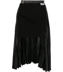 comme des garçons noir kei ninomiya open-front belted skirt - black