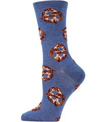 women's hot pretzel bamboo blend crew socks