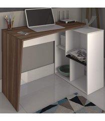 mesa escrivaninha urban 2 prateleiras ipê/branco - artany