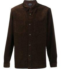 a.p.c. jo corduroy shirt - brown