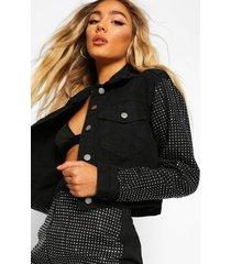 diamante rhinestone denim cropped jacket, black