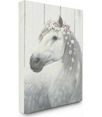 "stupell industries spirit stallion horse with flower crown canvas wall art, 16"" x 20"""