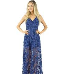 vestido longo liage alça transparência frente única azul marinho/navy