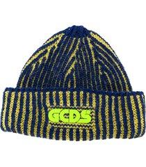 gcds chunky knit logo patch beanie hat - blue
