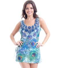 blusa 101 resort wear tunica chiffon pavao azul