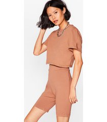womens in this together tee and biker shorts set - camel