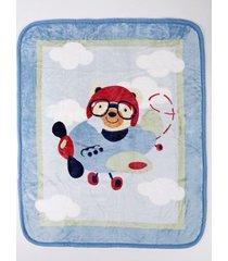 cobertor corttex infantil para bebê - azul marinho/vermelho