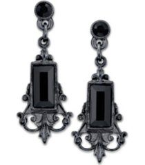 2028 black-tone black rectangle crystal drop earrings