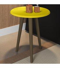 mesa de canto redonda brilhante 2074526 amarelo - bechara móveis