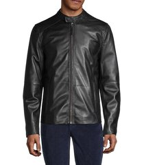 full-zip leather motorcycle jacket