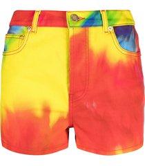 alexandre vauthier tie-dye denim shorts - red
