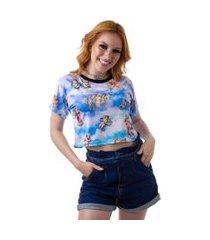 camiseta cropped feminina overfame anjos querubins