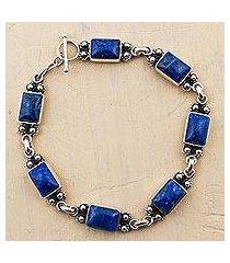 lapis lazuli link bracelet, 'seven seas' (peru)