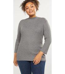 lane bryant women's ribbed mock-neck sweater 22/24 medium heather grey